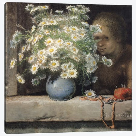 The Bouquet of Margueritas, 1866  Canvas Print #BMN1304} by Jean-Francois Millet Canvas Artwork