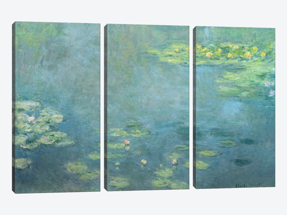 Waterlilies by Claude Monet 3-piece Canvas Wall Art