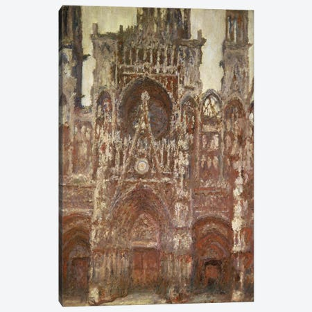 Rouen Cathedral, evening, harmony in brown, 1894 Canvas Print #BMN1315} by Claude Monet Canvas Print
