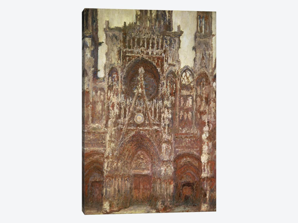 Rouen Cathedral, evening, harmony in brown, 1894 by Claude Monet 1-piece Canvas Art Print