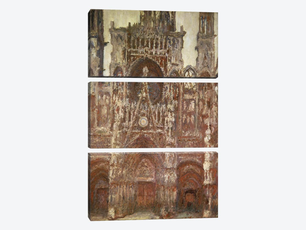 Rouen Cathedral, evening, harmony in brown, 1894 by Claude Monet 3-piece Canvas Print