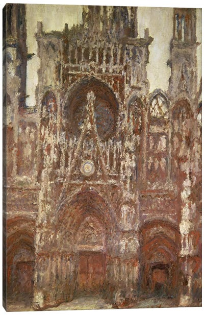 Rouen Cathedral, evening, harmony in brown, 1894 Canvas Art Print