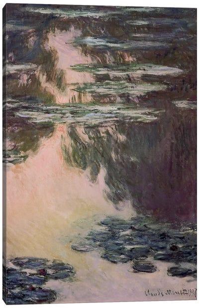 Waterlilies with Weeping Willows, 1907  Canvas Art Print