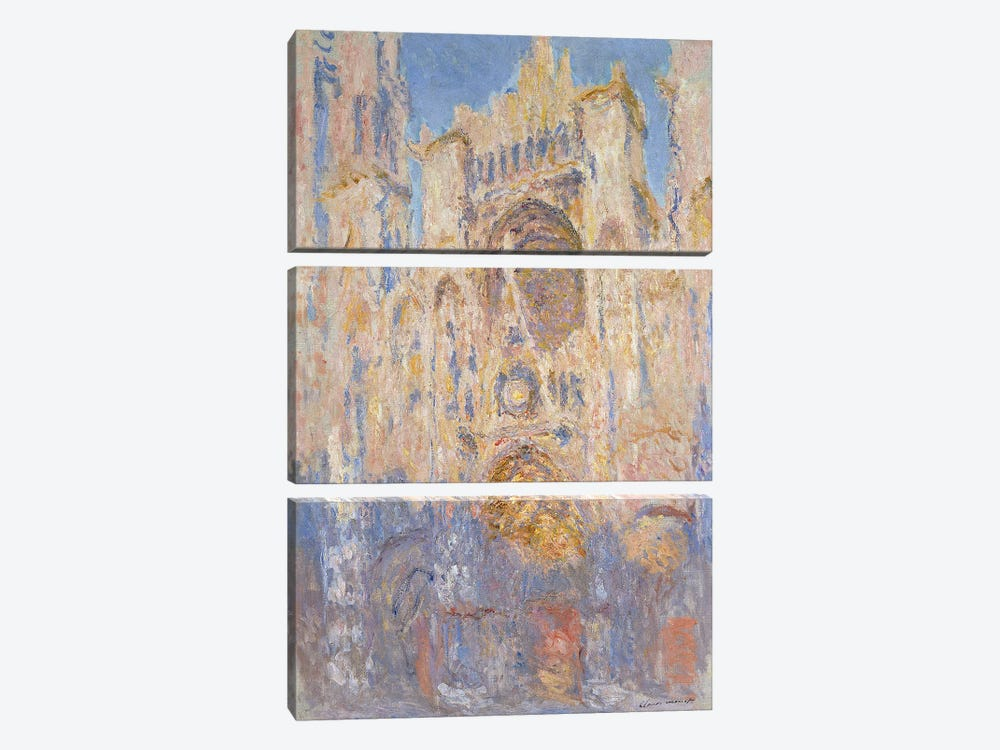 Rouen Cathedral, Effects of Sunlight, Sunset, 1892  by Claude Monet 3-piece Canvas Art Print