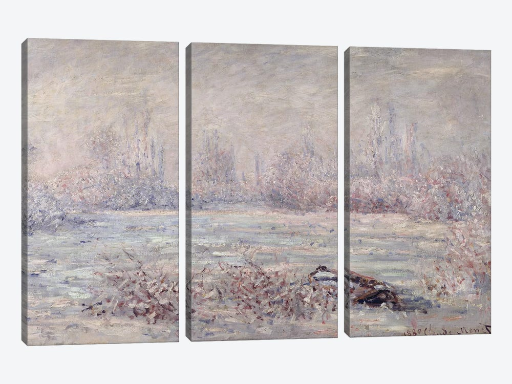 Frost near Vetheuil, 1880  by Claude Monet 3-piece Canvas Art Print
