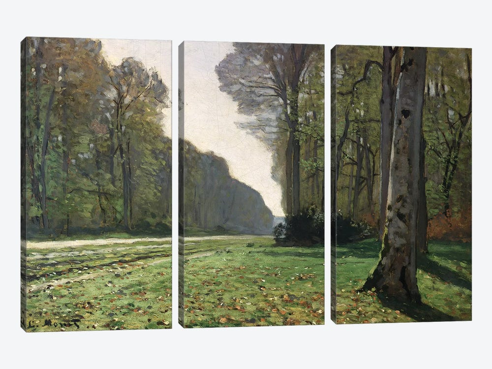 The Road to Bas-Breau, Fontainebleau  by Claude Monet 3-piece Canvas Wall Art
