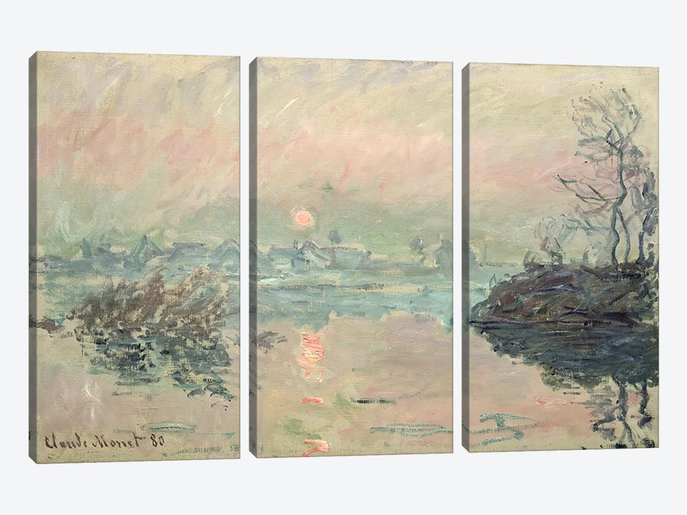 Sunset, 1880 by Claude Monet 3-piece Canvas Print