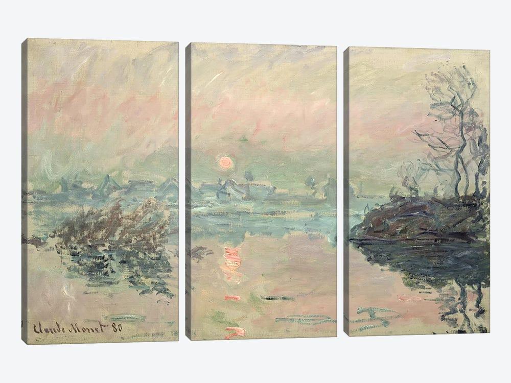 Sunset, 1880 by Claude Monet 3-piece Canvas Print