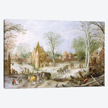 A wooded winter landscape with a cart  Canvas Print #BMN1332} by J. Brueghel Canvas Art