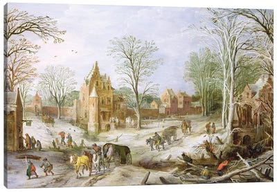 A wooded winter landscape with a cart  Canvas Art Print