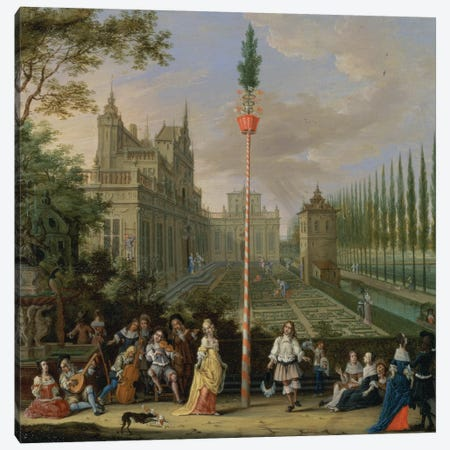 Elegant figures playing musical instruments around a maypole  Canvas Print #BMN1333} by Pieter Gysels Canvas Wall Art