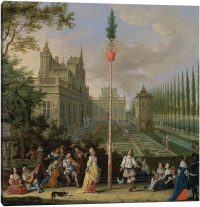 Elegant figures playing musical instruments around a maypole  Canvas Art Print