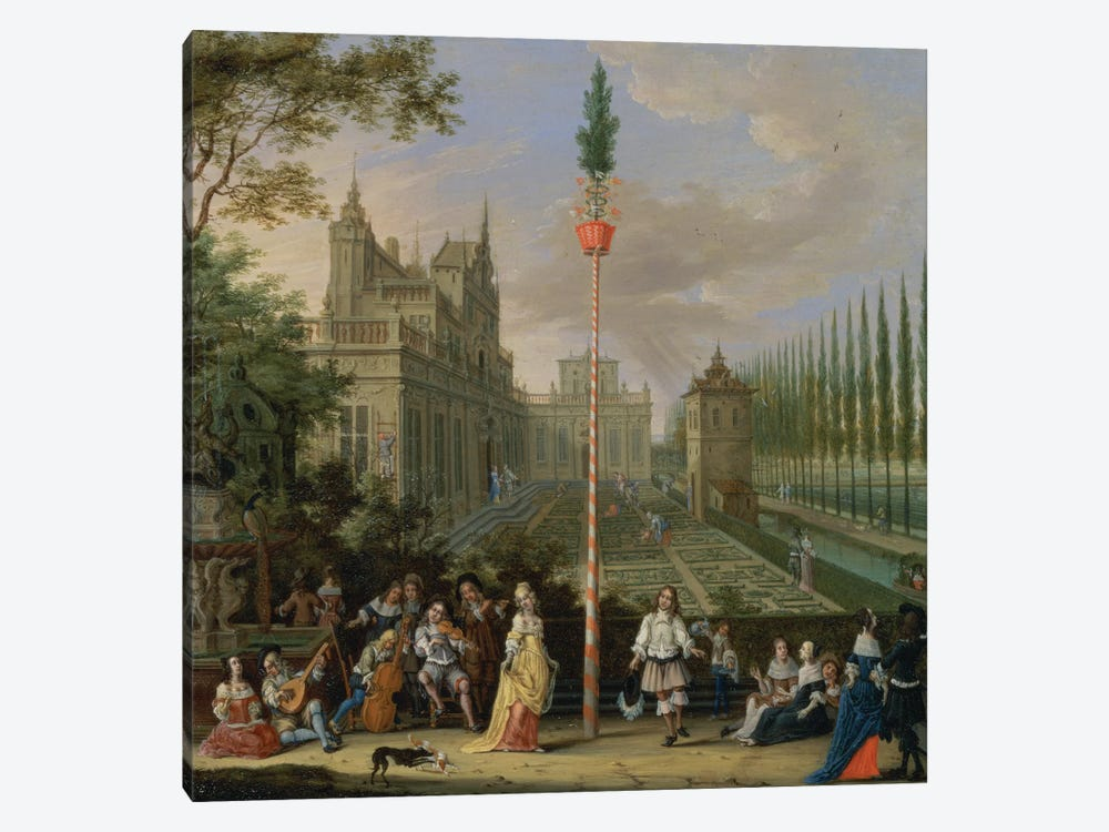 Elegant figures playing musical instruments around a maypole  by Pieter Gysels 1-piece Art Print
