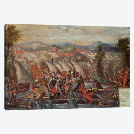 The Capture of Guatemoc  Canvas Print #BMN1334} by Spanish School Canvas Print