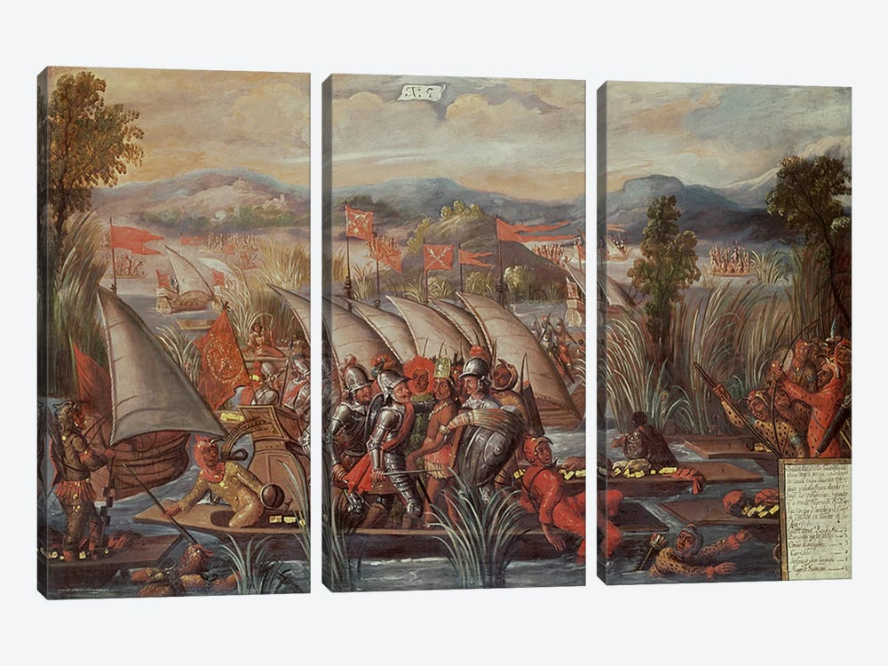 The Capture of Guatemoc  by Spanish School 3-piece Canvas Wall Art