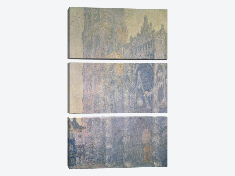 Rouen Cathedral, Harmony in White, Morning Light, 1894  by Claude Monet 3-piece Canvas Art