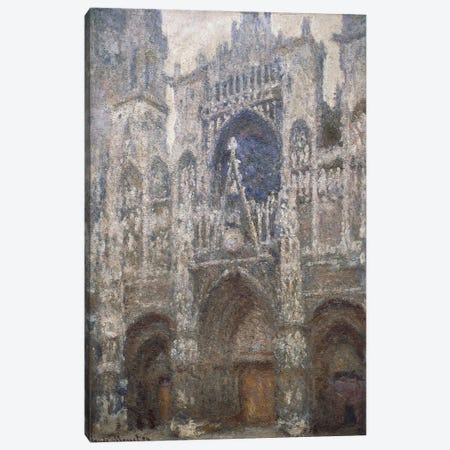 Rouen Cathedral, the west portal, Harmony in Grey, 1894  Canvas Print #BMN1337} by Claude Monet Canvas Print