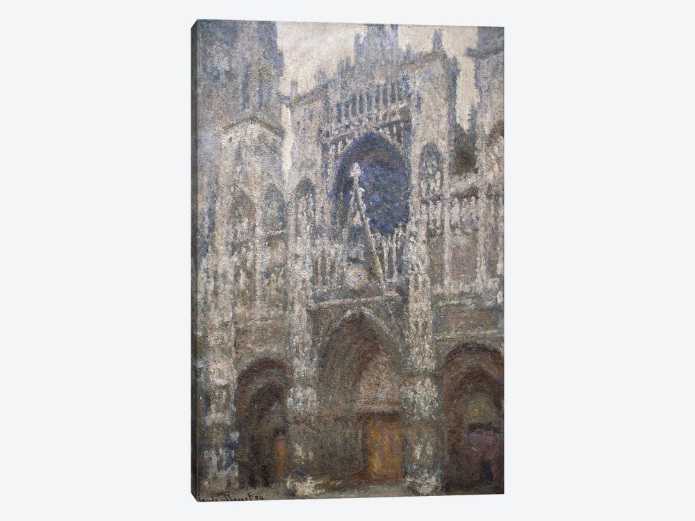 Rouen Cathedral, the west portal, Harmony in Grey, 1894  by Claude Monet 1-piece Canvas Art Print