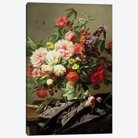 Peonies, Poppies and Roses, 1849 Canvas Print #BMN1339} by Henri Robbe Canvas Artwork