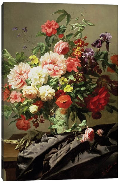 Peonies, Poppies and Roses, 1849 Canvas Art Print
