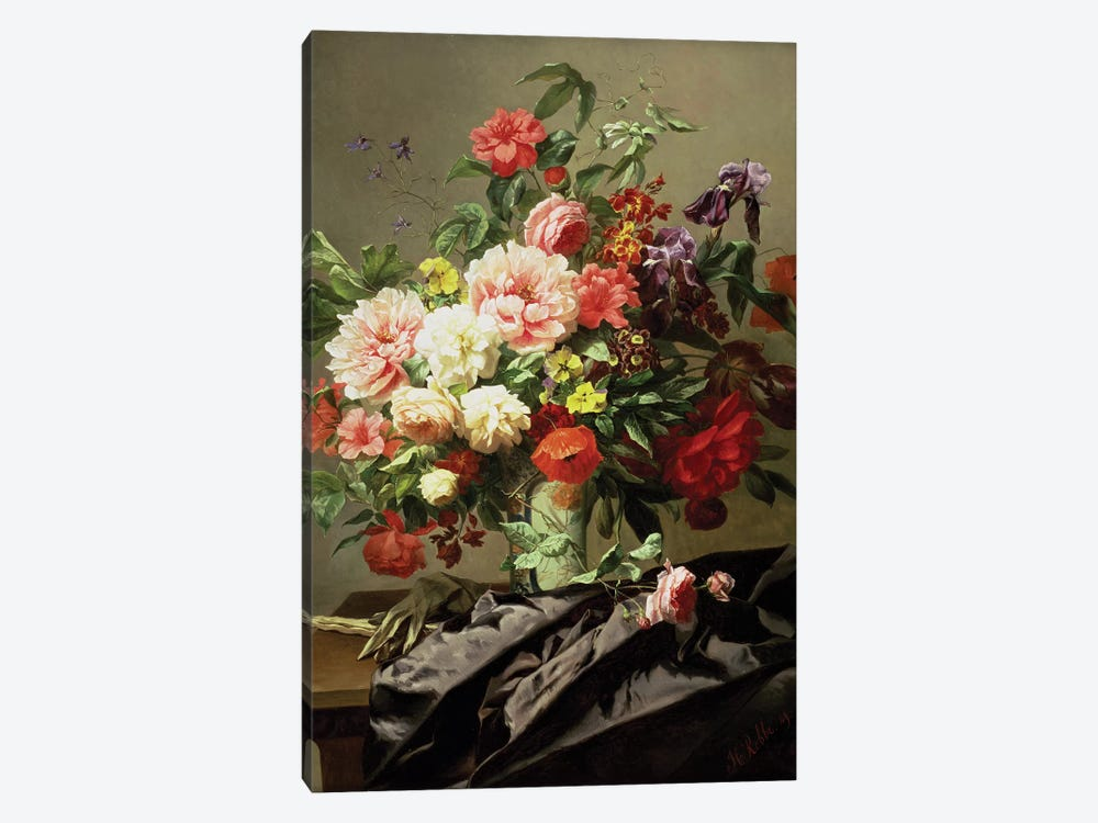 Peonies, Poppies and Roses, 1849 by Henri Robbe 1-piece Canvas Print