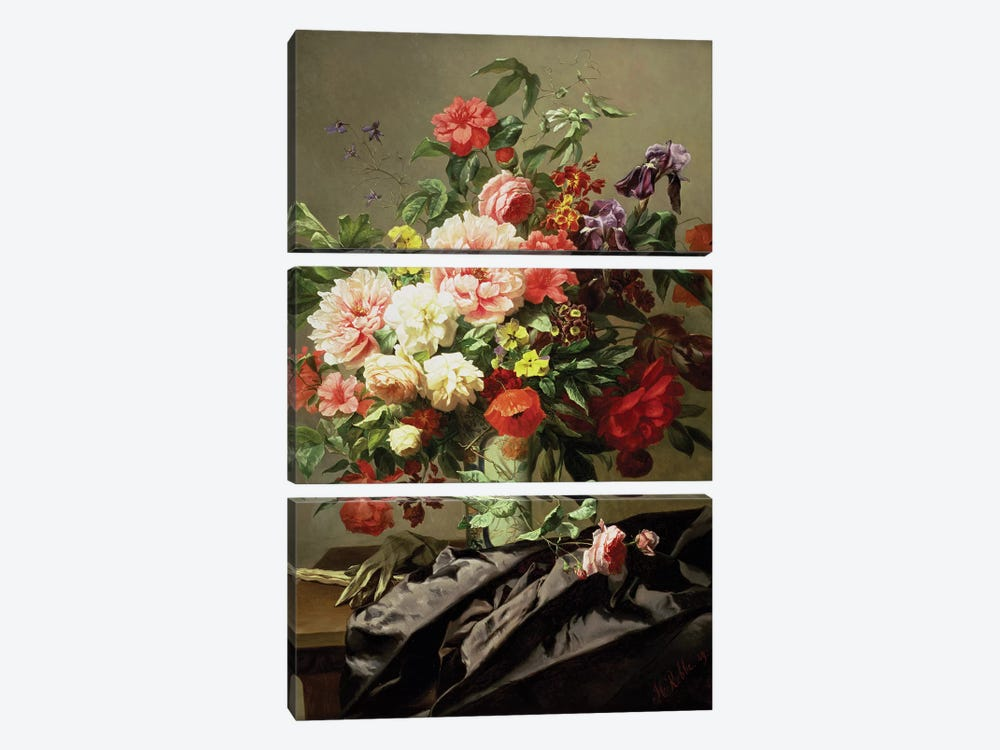 Peonies, Poppies and Roses, 1849 by Henri Robbe 3-piece Canvas Art Print
