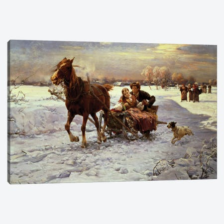 Lovers in a sleigh Canvas Print #BMN1340} by Alfred von Wierusz-Kowalski Art Print