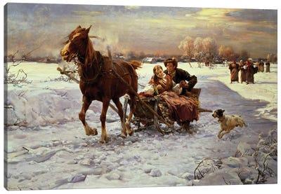 Lovers in a sleigh Canvas Art Print