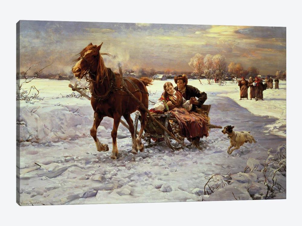 Lovers in a sleigh by Alfred von Wierusz-Kowalski 1-piece Canvas Print
