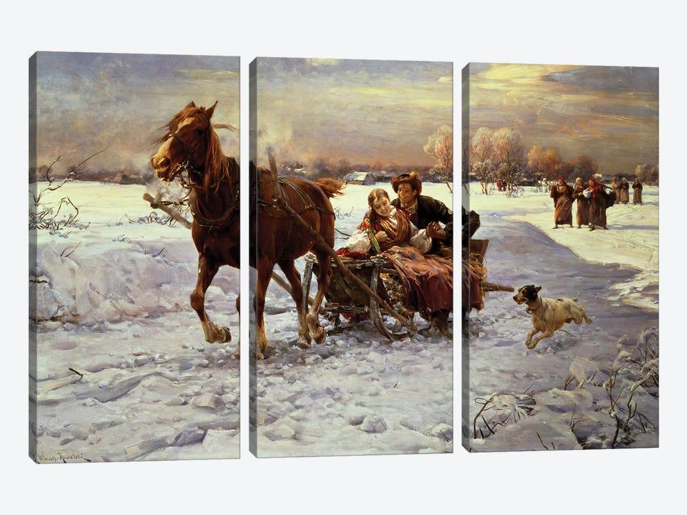 Lovers in a sleigh by Alfred von Wierusz-Kowalski 3-piece Canvas Print