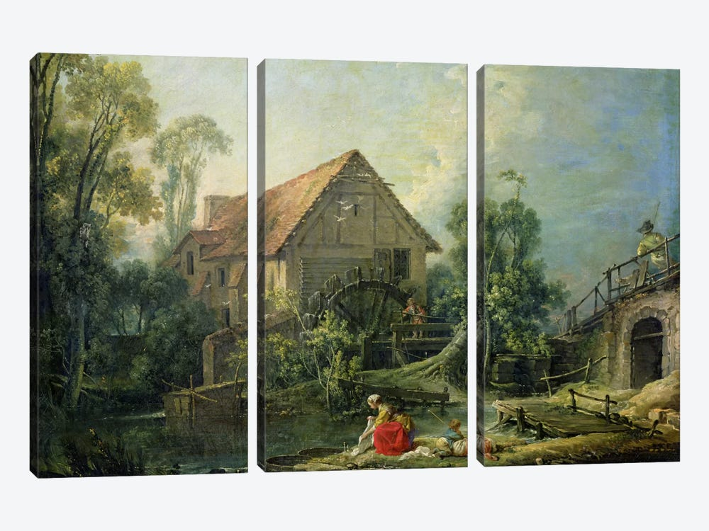 The Mill, 1751  by Francois Boucher 3-piece Canvas Print