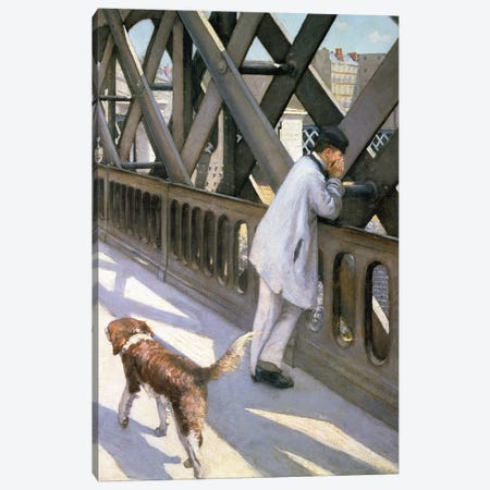 Le Pont de L'Europe: detail of a resting man and a dog, 1876  Canvas Print #BMN1346} by Gustave Caillebotte Canvas Wall Art