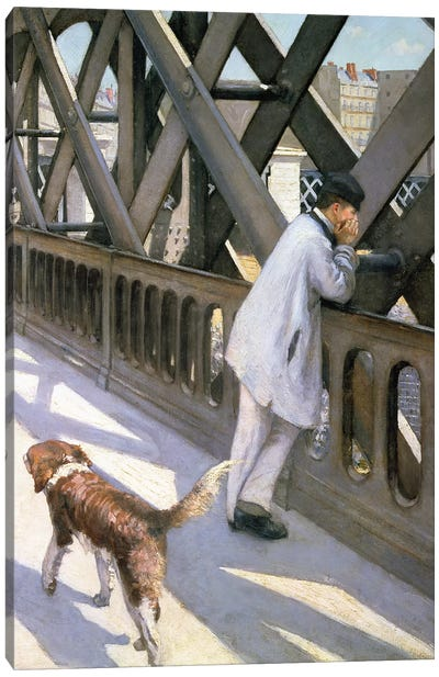 Le Pont de L'Europe: detail of a resting man and a dog, 1876  Canvas Art Print