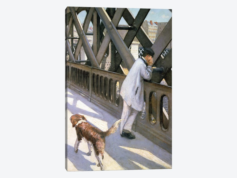 Le Pont de L'Europe: detail of a resting man and a dog, 1876  by Gustave Caillebotte 1-piece Art Print