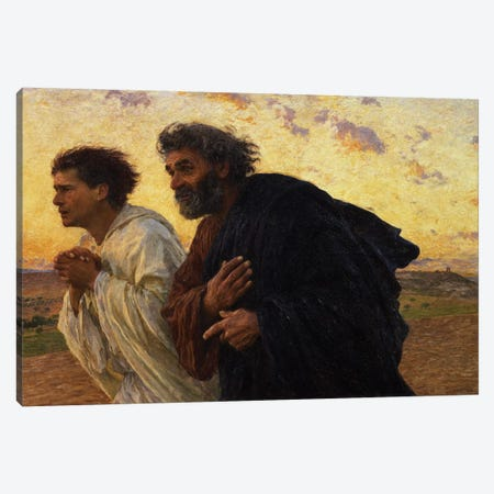 The Disciples Peter and John Running to the Sepulchre on the Morning of the Resurrection, c.1898  Canvas Print #BMN1347} by Eugene Burnand Canvas Wall Art