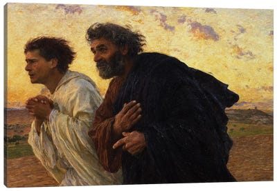The Disciples Peter and John Running to the Sepulchre on the Morning of the Resurrection, c.1898  Canvas Art Print