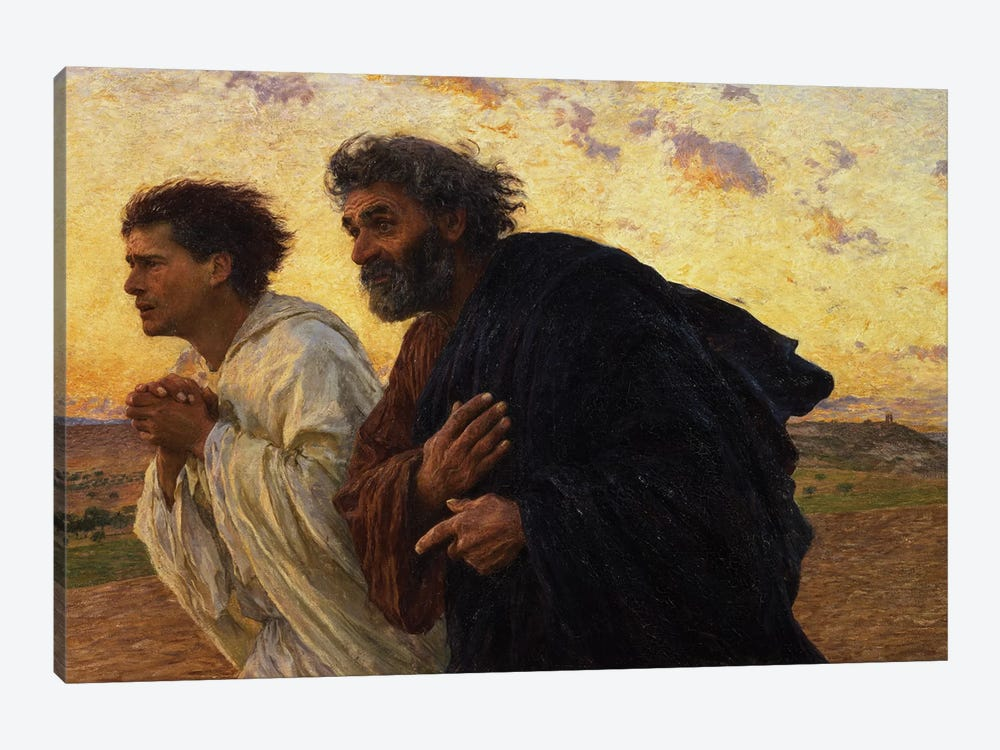 The Disciples Peter and John Running to the Sepulchre on the Morning of the Resurrection, c.1898  by Eugene Burnand 1-piece Canvas Wall Art
