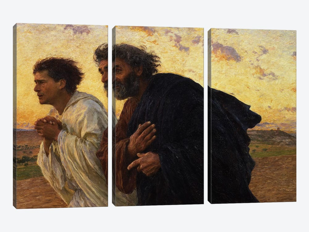 The Disciples Peter and John Running to the Sepulchre on the Morning of the Resurrection, c.1898  by Eugene Burnand 3-piece Canvas Art