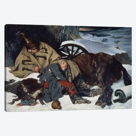 Scene from the Retreat from Russia, 1835  Canvas Print #BMN1348} by Joseph Fernand Boissard de Boisdenier Canvas Print
