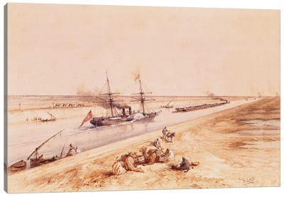 A Turkish Paddle Steamer Going Up the Suez Canal, from a souvenir album to commemorate the Voyage of Empress Eugenie  Canvas Art Print