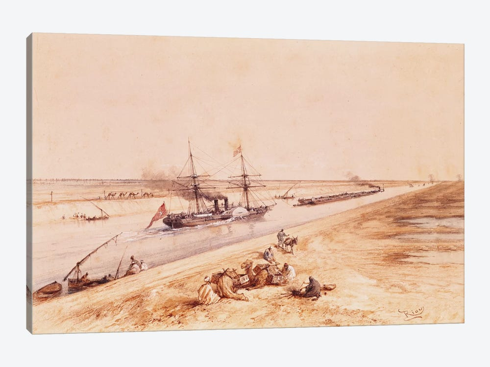 A Turkish Paddle Steamer Going Up the Suez Canal, from a souvenir album to commemorate the Voyage of Empress Eugenie  by Edouard Riou 1-piece Canvas Art