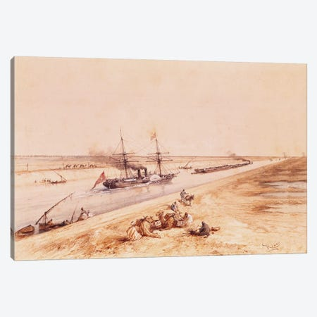 A Turkish Paddle Steamer Going Up the Suez Canal, from a souvenir album to commemorate the Voyage of Empress Eugenie  Canvas Print #BMN1350} by Edouard Riou Canvas Art