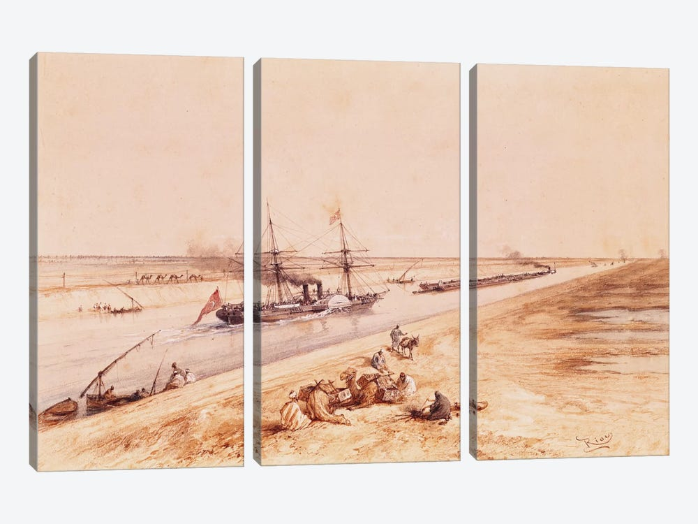 A Turkish Paddle Steamer Going Up the Suez Canal, from a souvenir album to commemorate the Voyage of Empress Eugenie  by Edouard Riou 3-piece Canvas Artwork