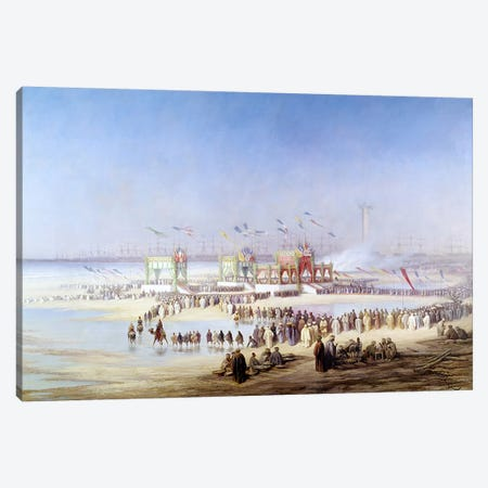 The Inauguration of the Suez Canal by the Empress Eugenie  Canvas Print #BMN1351} by Edouard Riou Canvas Art