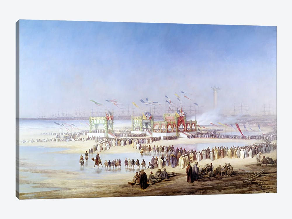 The Inauguration of the Suez Canal by the Empress Eugenie by Edouard Riou 1-piece Art Print