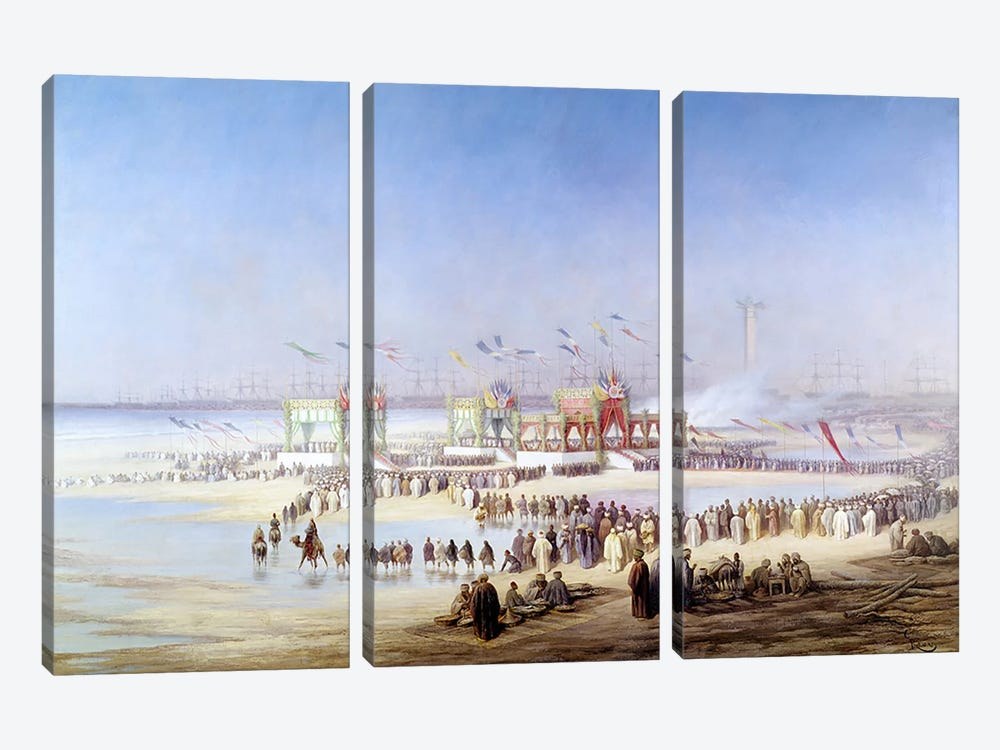 The Inauguration of the Suez Canal by the Empress Eugenie by Edouard Riou 3-piece Canvas Print