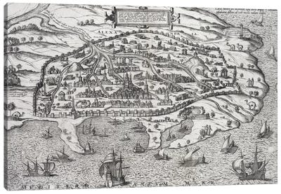 Town map of Alexandria in Egypt, c.1625  Canvas Print #BMN1353