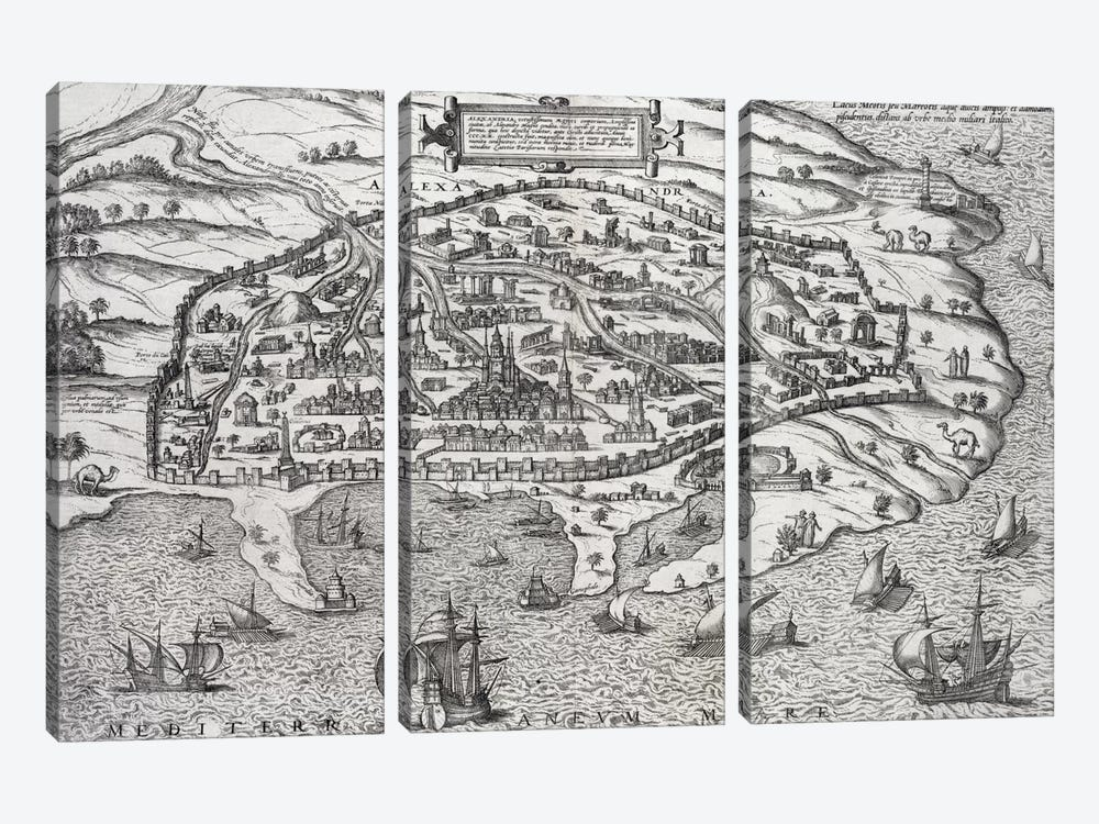 Town map of Alexandria in Egypt, c.1625  by Unknown Artist 3-piece Canvas Print