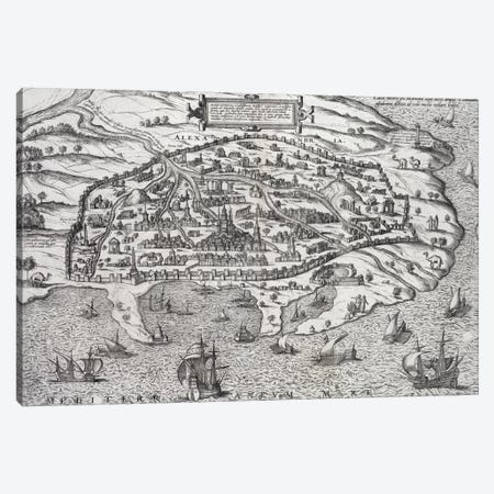 Town map of Alexandria in Egypt, c.1625  3-Piece Canvas #BMN1353} by Unknown Artist Canvas Artwork