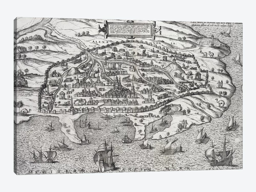 Town map of Alexandria in Egypt, c.1625  by Unknown Artist 1-piece Canvas Print